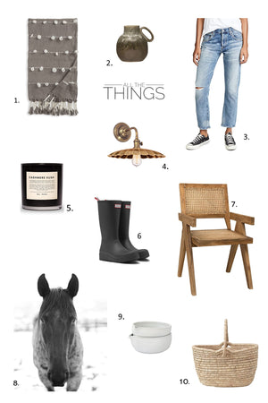 All the things september greige design shop + interiors black and white horse art hunter boots tassel throw boyfriend jeans citizens of humanity