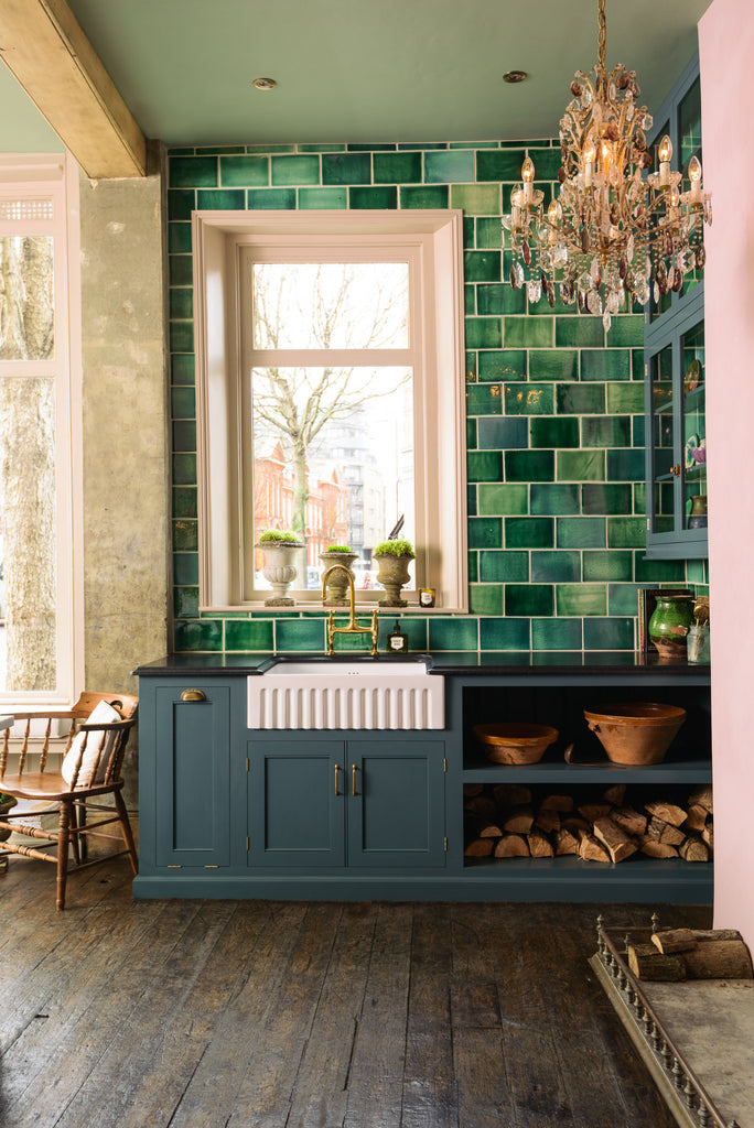 Green Tile Backsplash Greige Design