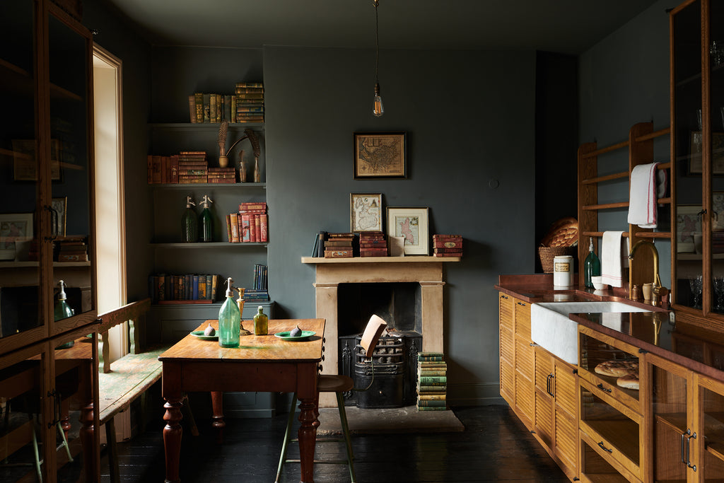 deVOL Kitchen dark and moody mid century mix with green paint and vintage pieces