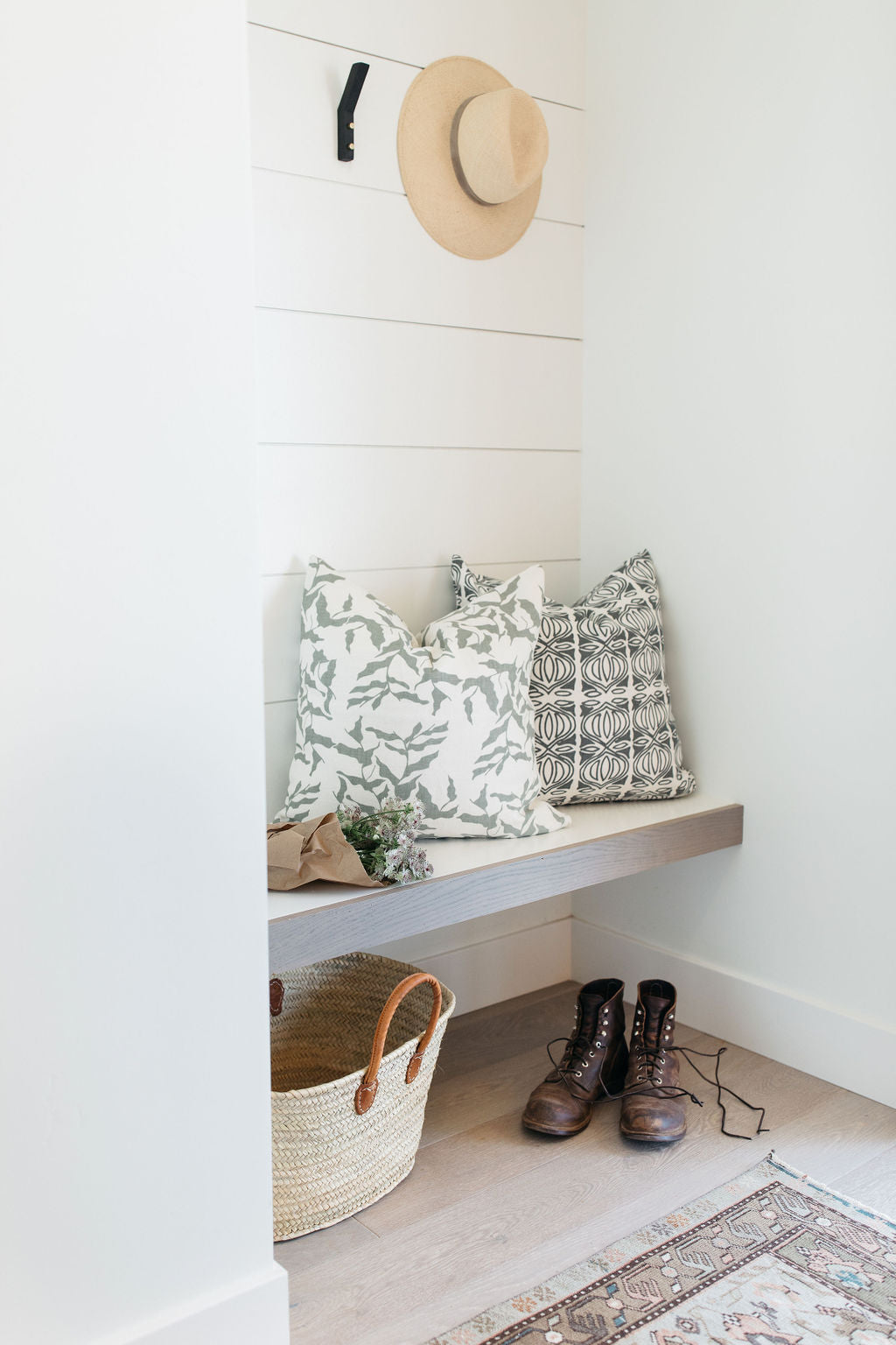 greige design shop + interiors alexandria project san diego california white shiplap entry bench