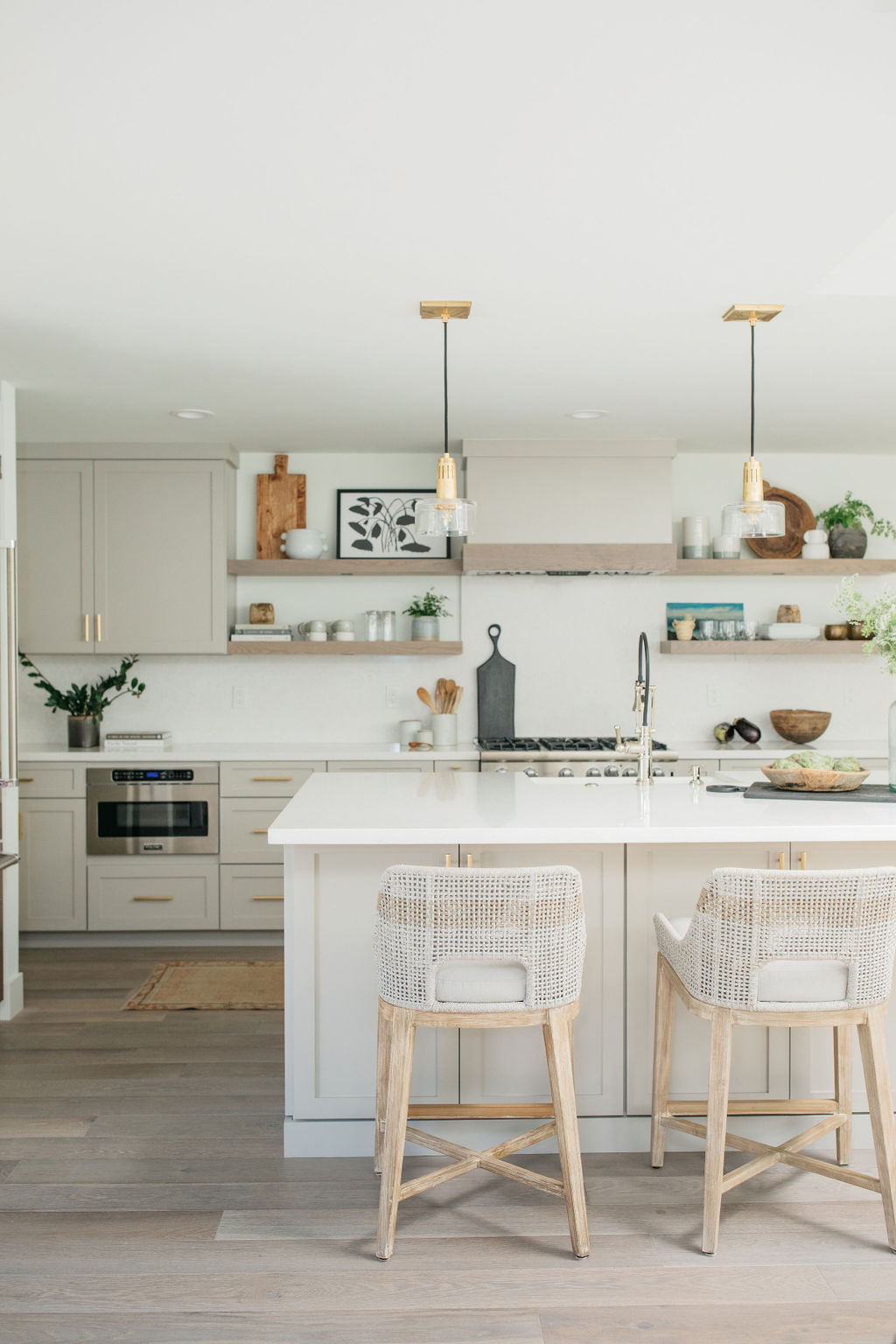 greige design shop + interiors alexandria project kitchen grey cabinets tapestry stools open shelves