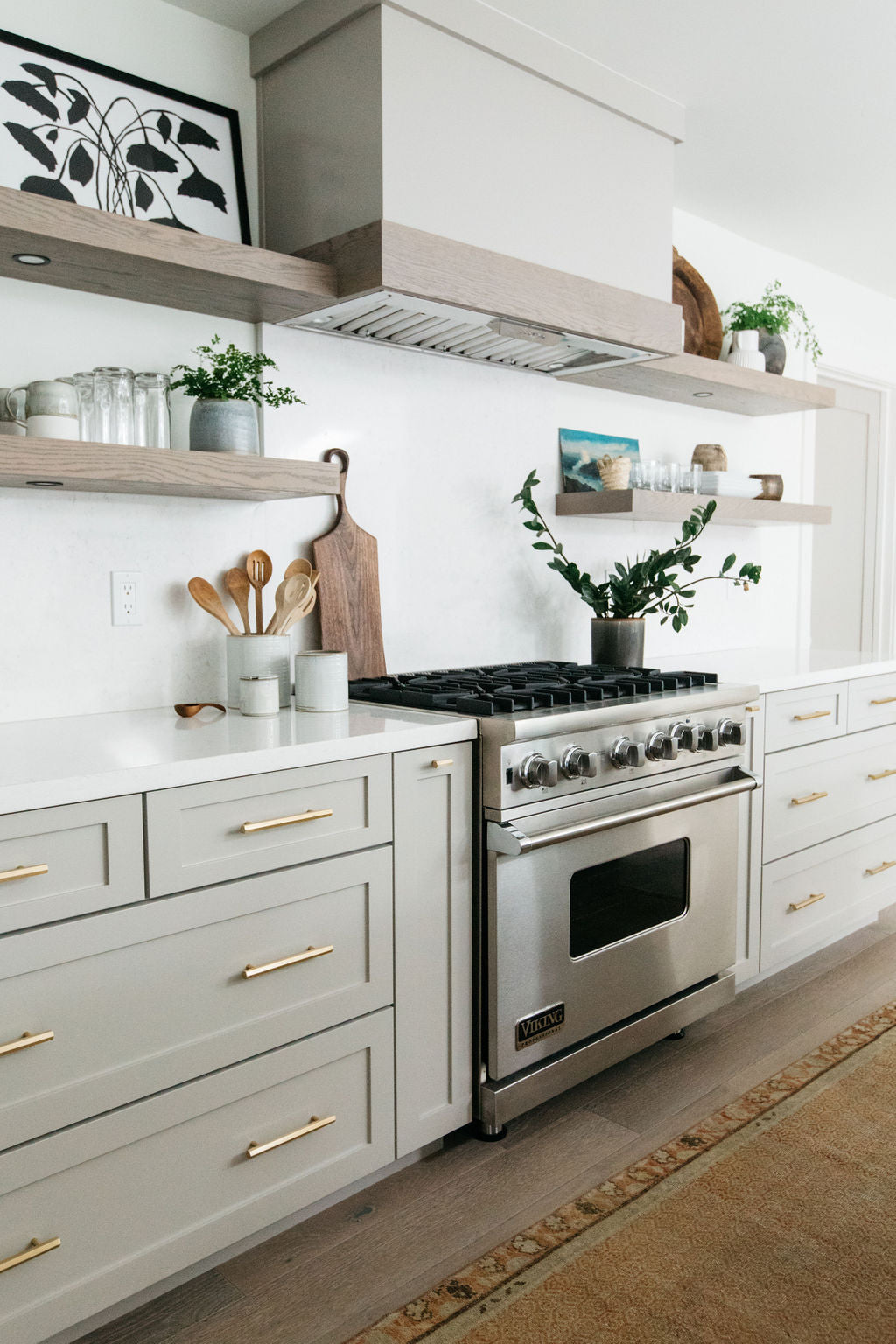 greige design shop + interiors alexandria project kitchen grey cabinets open shelves