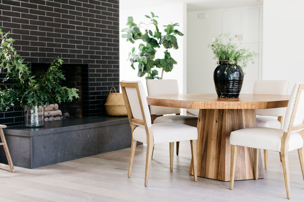 greige design shop + interiors alexandria project dining room black brick fireplace