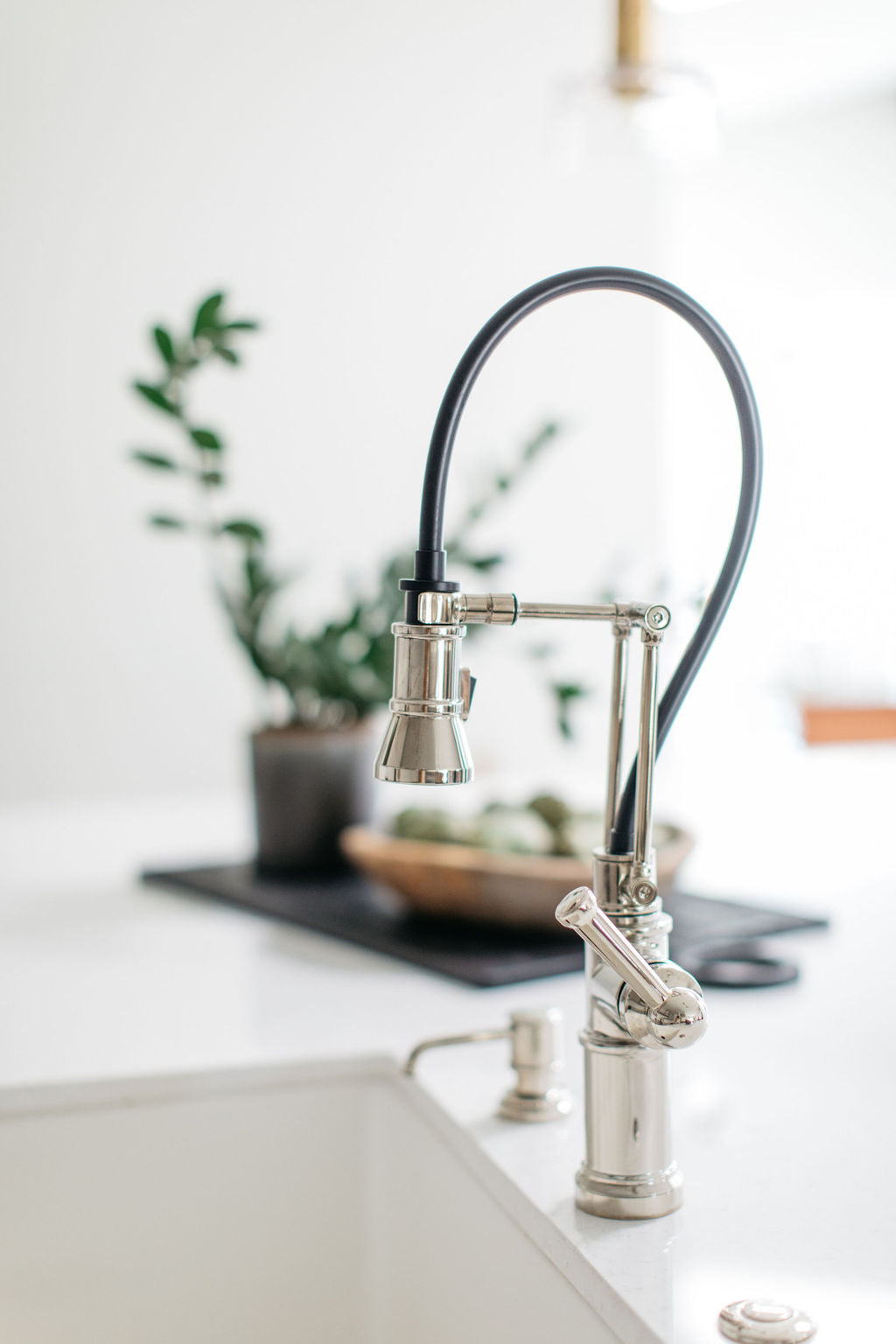 greige design shop + interiors alexandria project kitchen grey cabinets industrial faucet