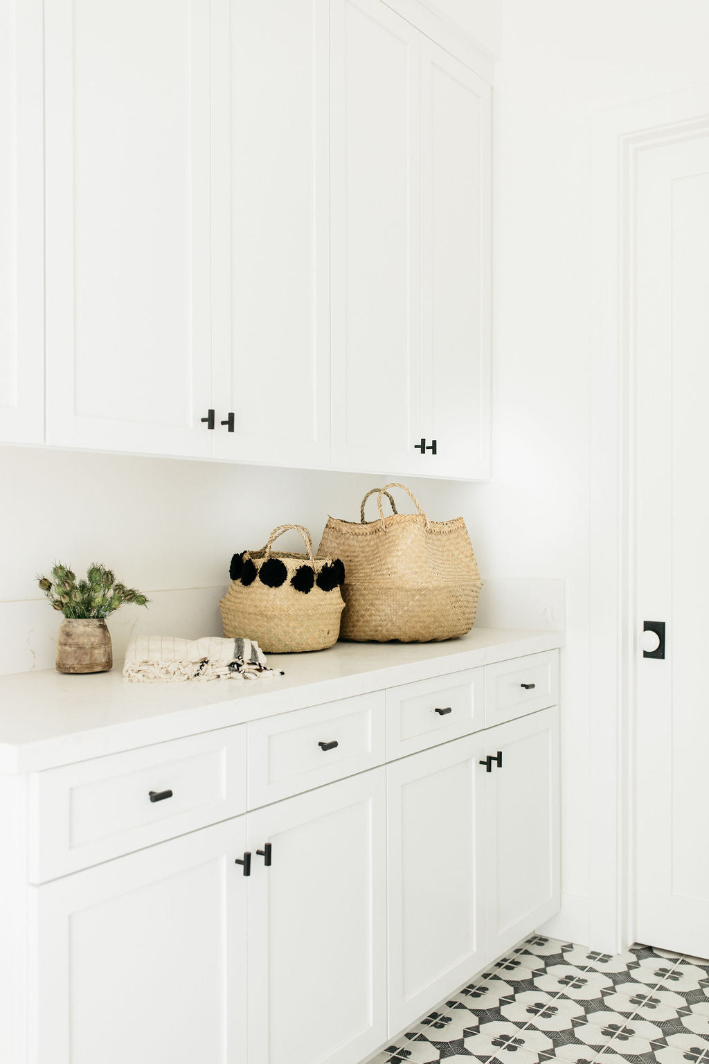 Albion project greige design shop + interiors Point Loma San Diego California black and white interior design Laundry room