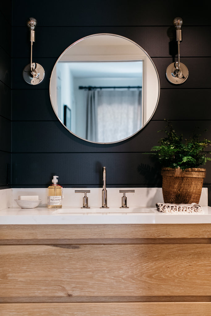 Black shiplap wall bathroom in white modern California Coastal retreat bathroom by greige design shop + interiors in Laguna Beach, Ca.