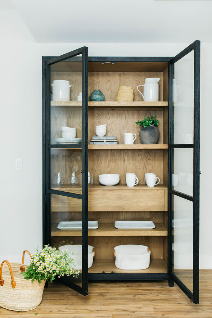 greige design shop + interiors black storage cabinet miles french market basket