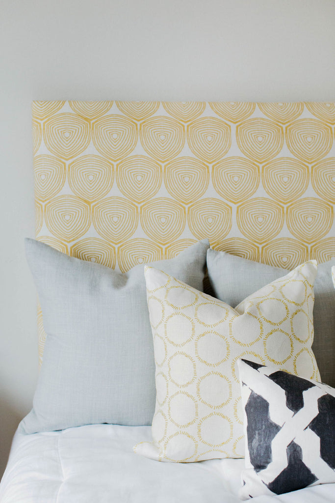 greige design shop + interiors greige textiles fabric headboard ward in Wheat black grey and yellow bedroom