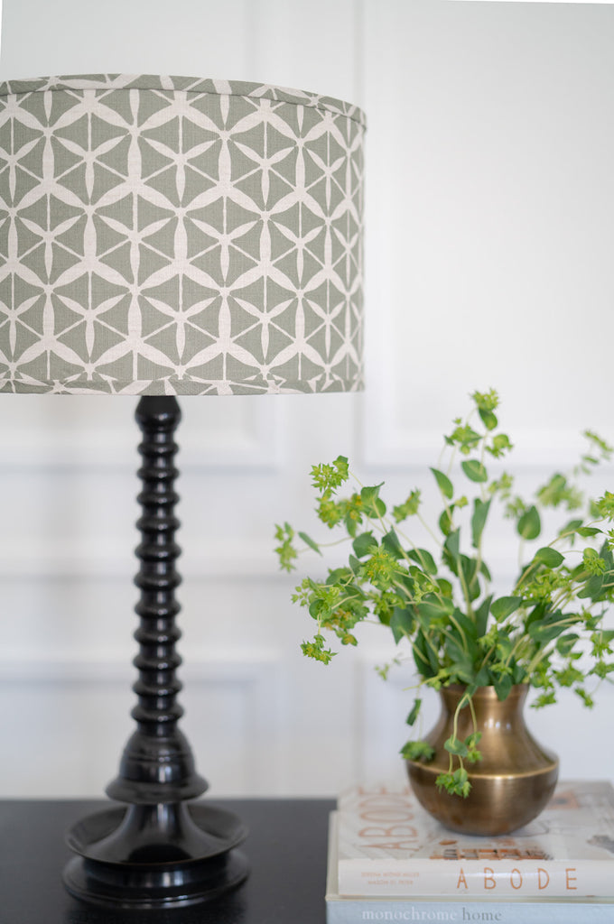 Ward in Heron on Oyster greige design custom lampshade made in USA