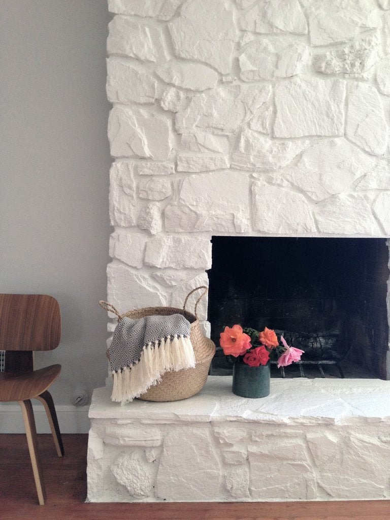 How to: Painting the stone fireplace white - greige design