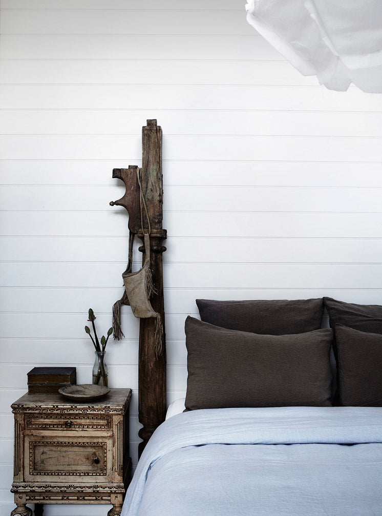 Grey Modern farmhouse white shiplap walls bedroom