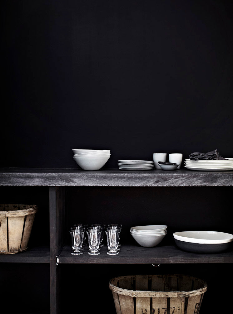 Grey Modern farmhouse black painted wall in kitchen dishes in contrast greige design blog