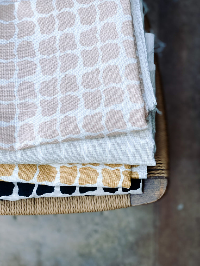 greige textiles collection six Hugh hand printed on Belgian linen