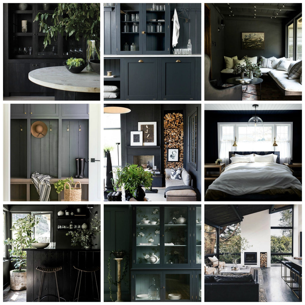 Instagram round up greige design shop + interiors blog black painted walls dark grey bedrom kitchen mudroom dark interiors