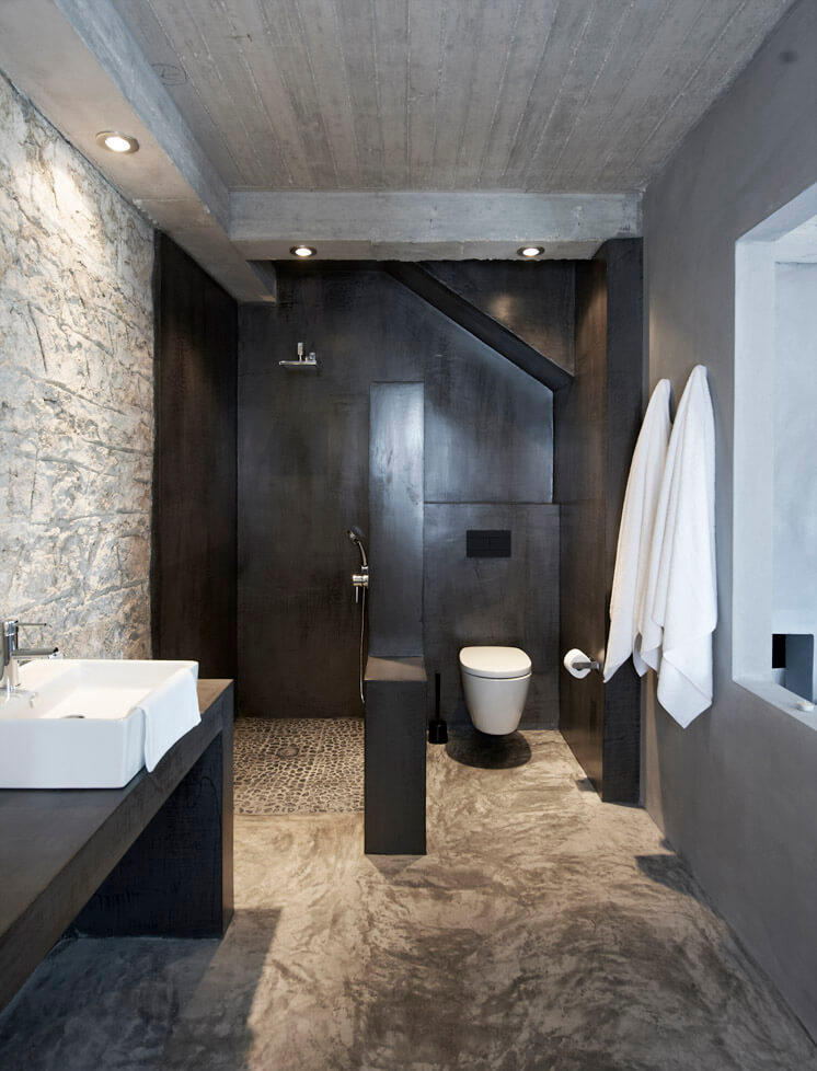 Greek island of Ithaca Stone Wall bathroom