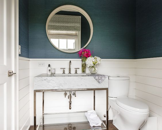 White And Navy Guest Bathroom