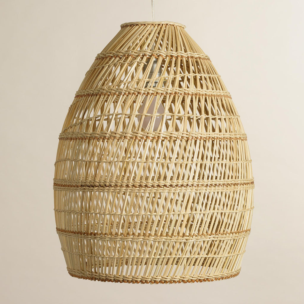 Woven Basket Lamp Shade : Currently woven bamboo pendant lights greige design
