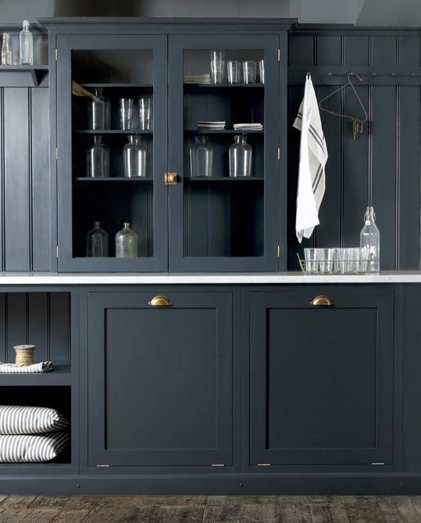 Instagram round up greige design shop + interiors blog black painted walls dark grey kitchen mudroom dark interiors Devol Kitchens