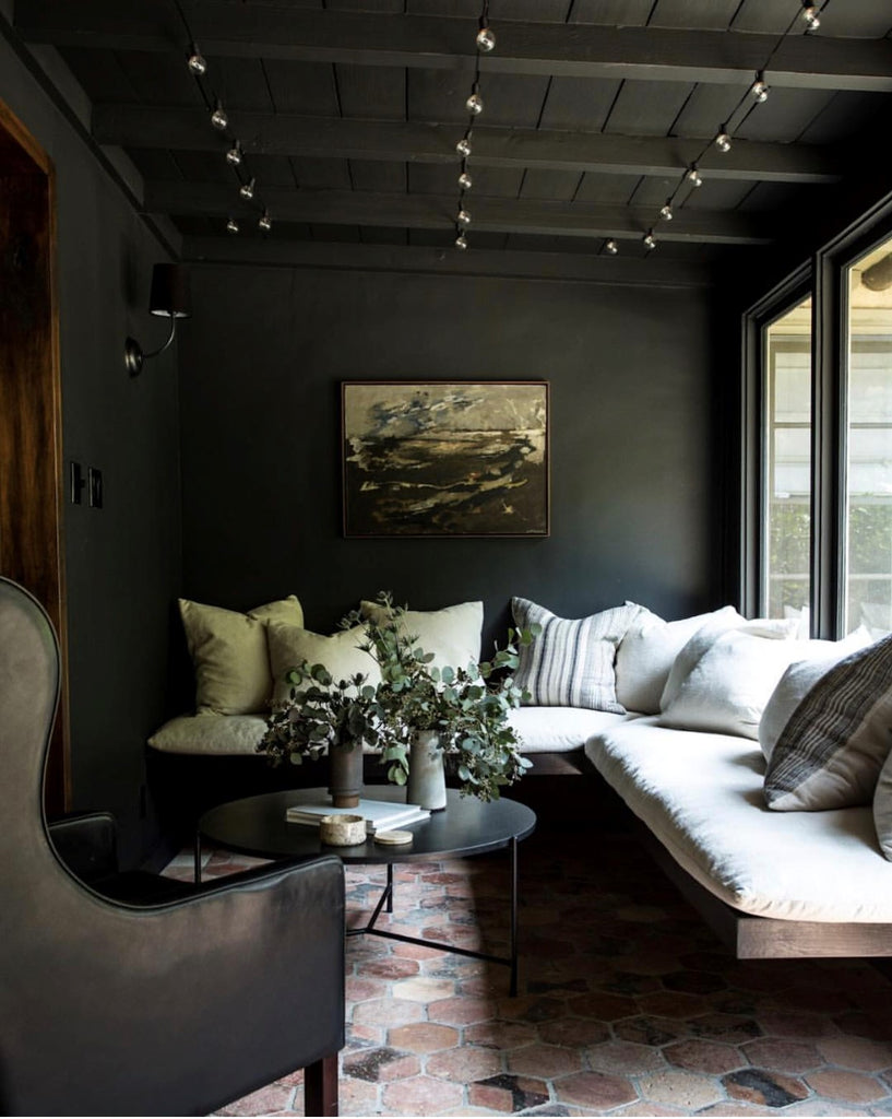 Instagram round up greige design shop + interiors blog black painted walls dark grey screened porch dark interiors