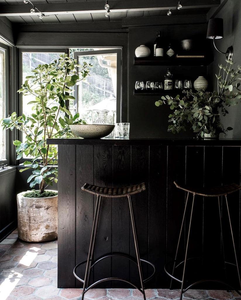 Instagram round up greige design shop + interiors blog black painted wood detailing walls kitchen dark interiors