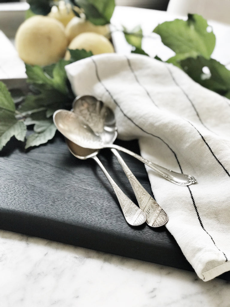 vintage silverware greige design shop + interiors french linen white with black stripe towel