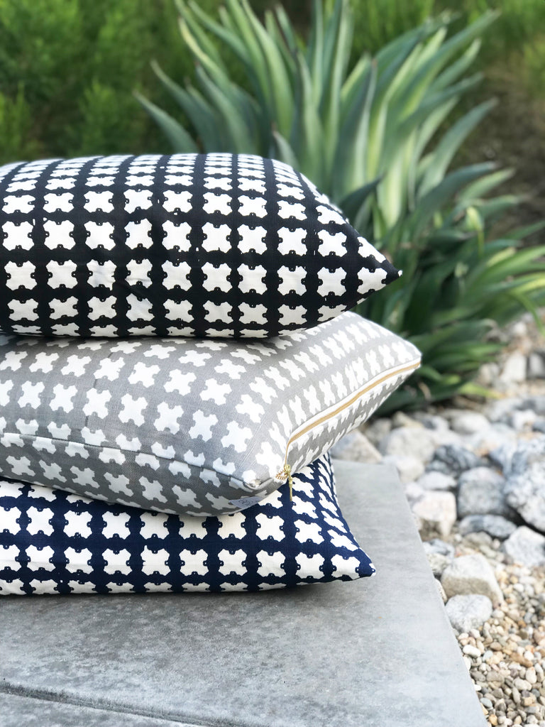 greige textiles felix pillows outside palm springs