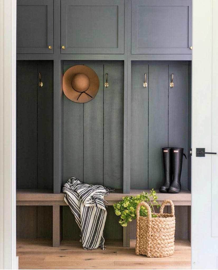 Instagram round up greige design shop + interiors blog black painted walls dark grey mudroom dark interiors