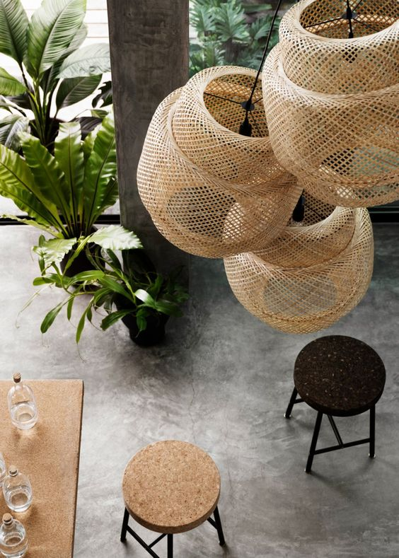 Currently Woven Bamboo Pendant Lights Greige Design