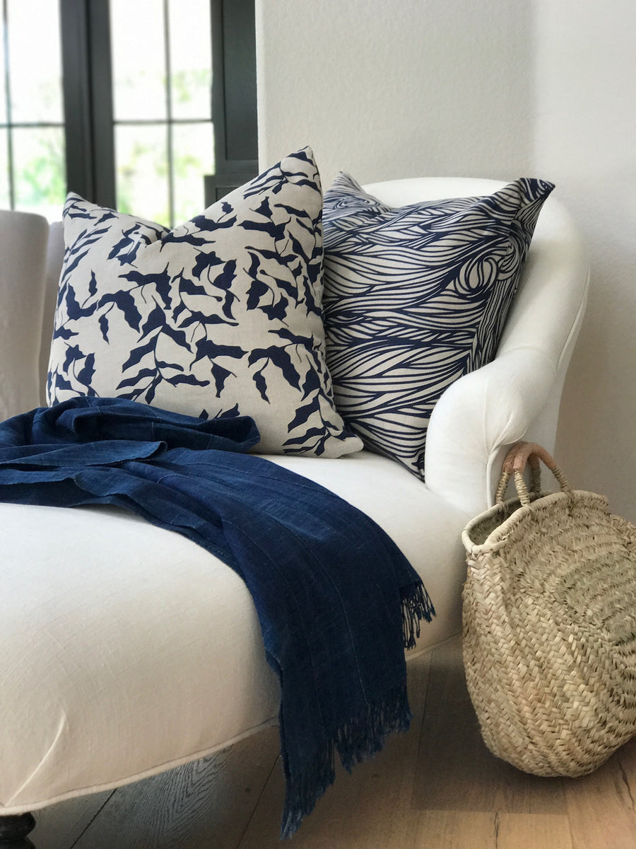Trina Pillow in Indigo on natural