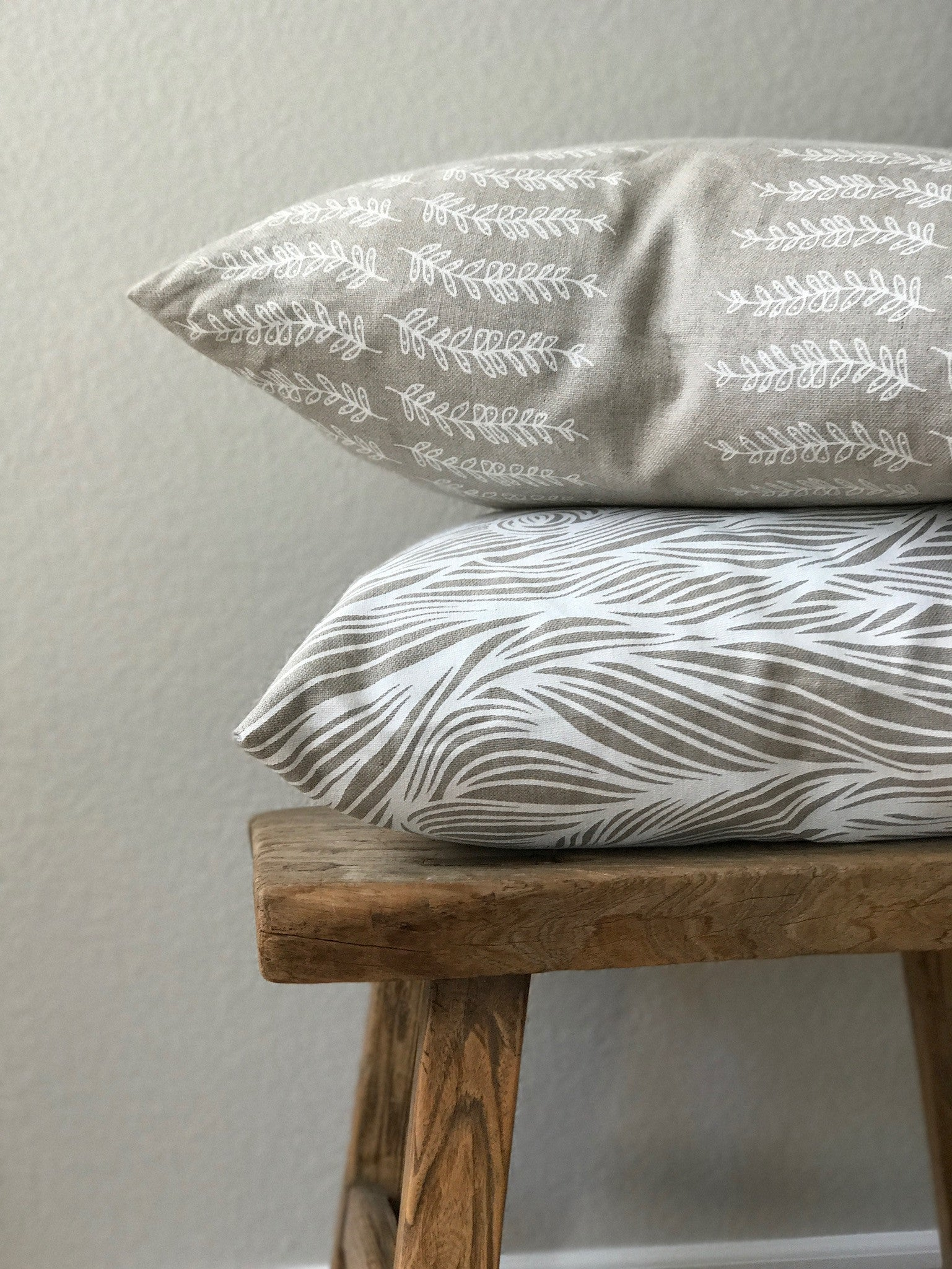 greige textiles pillow fern stripe white on oatmeal