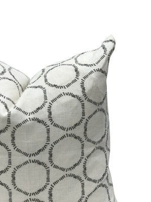 Cape pillow in Dove on Oyster linen greige textiles greige design shop + interiors