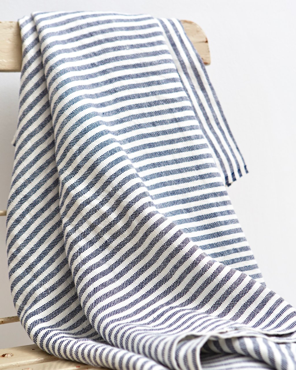 Chambray Linen Throw- Navy Stripe
