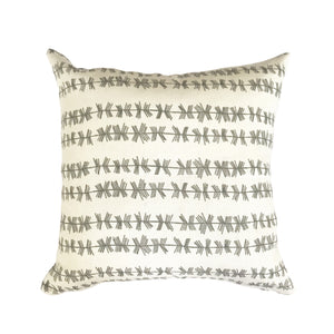 Stick stripe pillow in Dove on Oyster