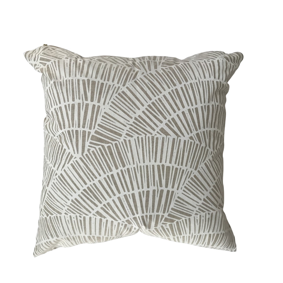 Fan pillow White on Oatmeal greige textiles