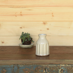 Caldwell Ceramic Vase cream speckled glaze finish homart greige design shop + interiors