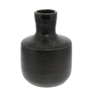 Anders Bottle vase black ceramic glaze accessory greige design shop + interiors