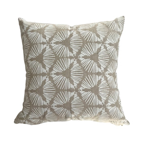 Cie pillow White on Oatmeal greige textiles