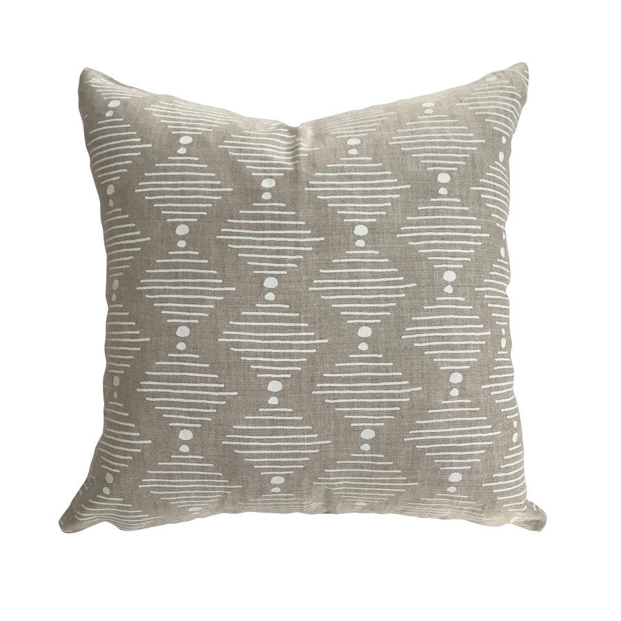 Hinkley pillow in White on Oatmeal greige textiles