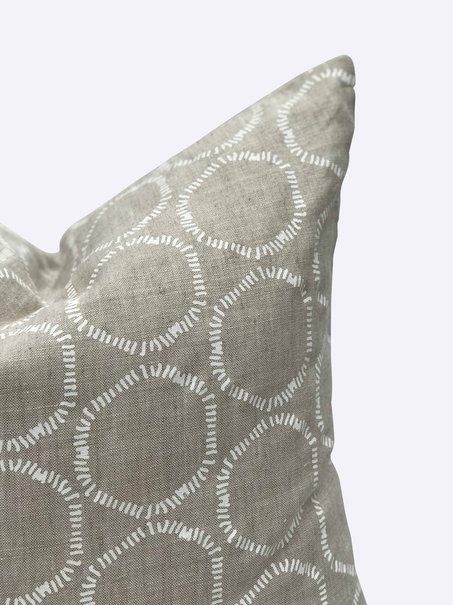 Cape pillow in white on Oatmeal linen greige textiles greige design shop + interiors