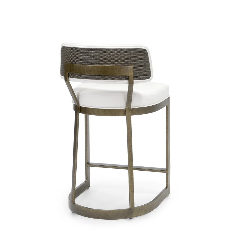 antique gold finish barstool with upholstered seat and cane matting backrest