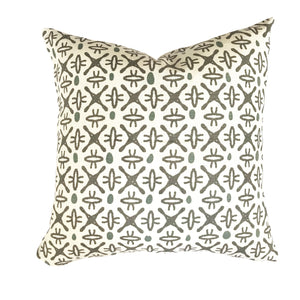 Mimi pillow in Dove/Wedgewood on Oyster greige textiles