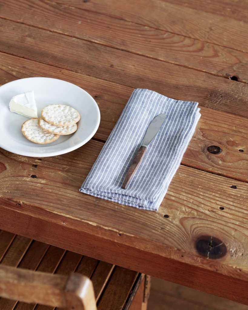 Grey & White Stripe Linen Napkin