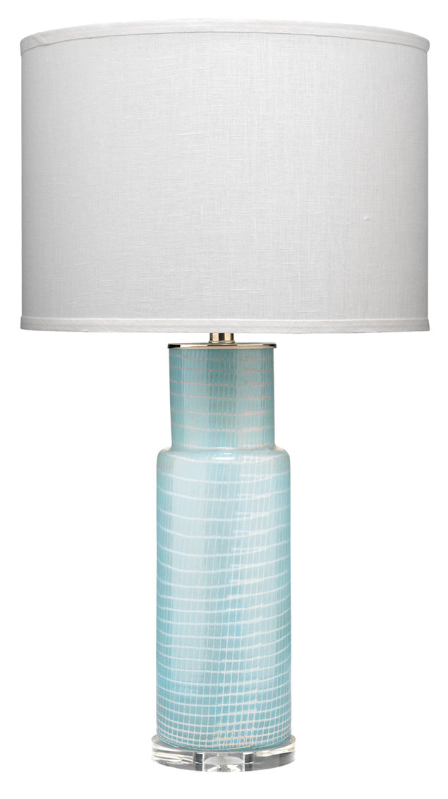 Atwater Table Lamp blue glass sky blue netted glass finish classic drum shade white linen greige design shop + interiors