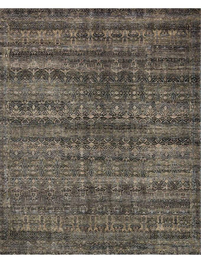 Indian Amara Rug Charcoal Lagoon hand knotted wool greige design shop + interiors