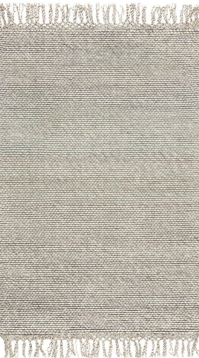 Brea rug ivory hand loomed fringe India Indian wool cotton polyester greige design shop + interiors