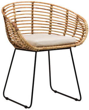 Basket Dining chair open weave iron legs black finish handwoven rattan frame loose cushion greige design shop + interiors
