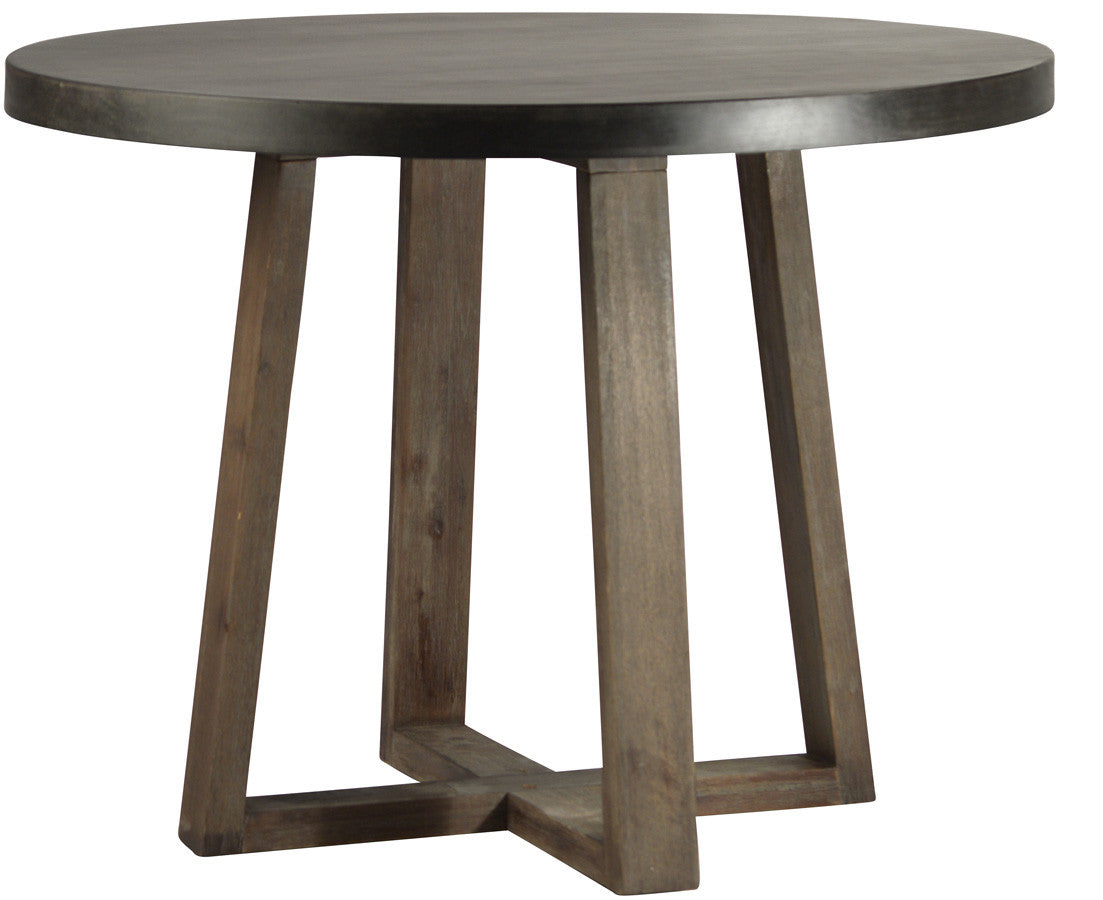 Barnett table stone resin mix top Oak wood base with natural sealed finish greige design shop + interiors