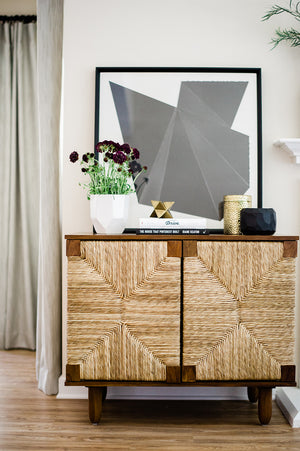 Brook Rush Cabinet Teak wood seagrass wrapped doors noir greige design shop + interiors