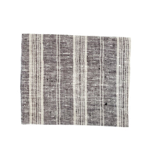 Linen Multistripe hand towel Black