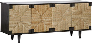 Brook Rush Sideboard mahogany pale finish seagrass wrapped doors noir greige design shop + interiors